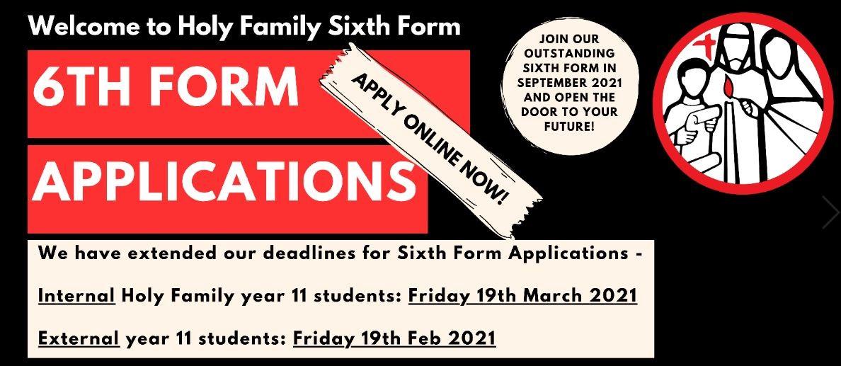 Sixth Form Application Deadlines 2021
