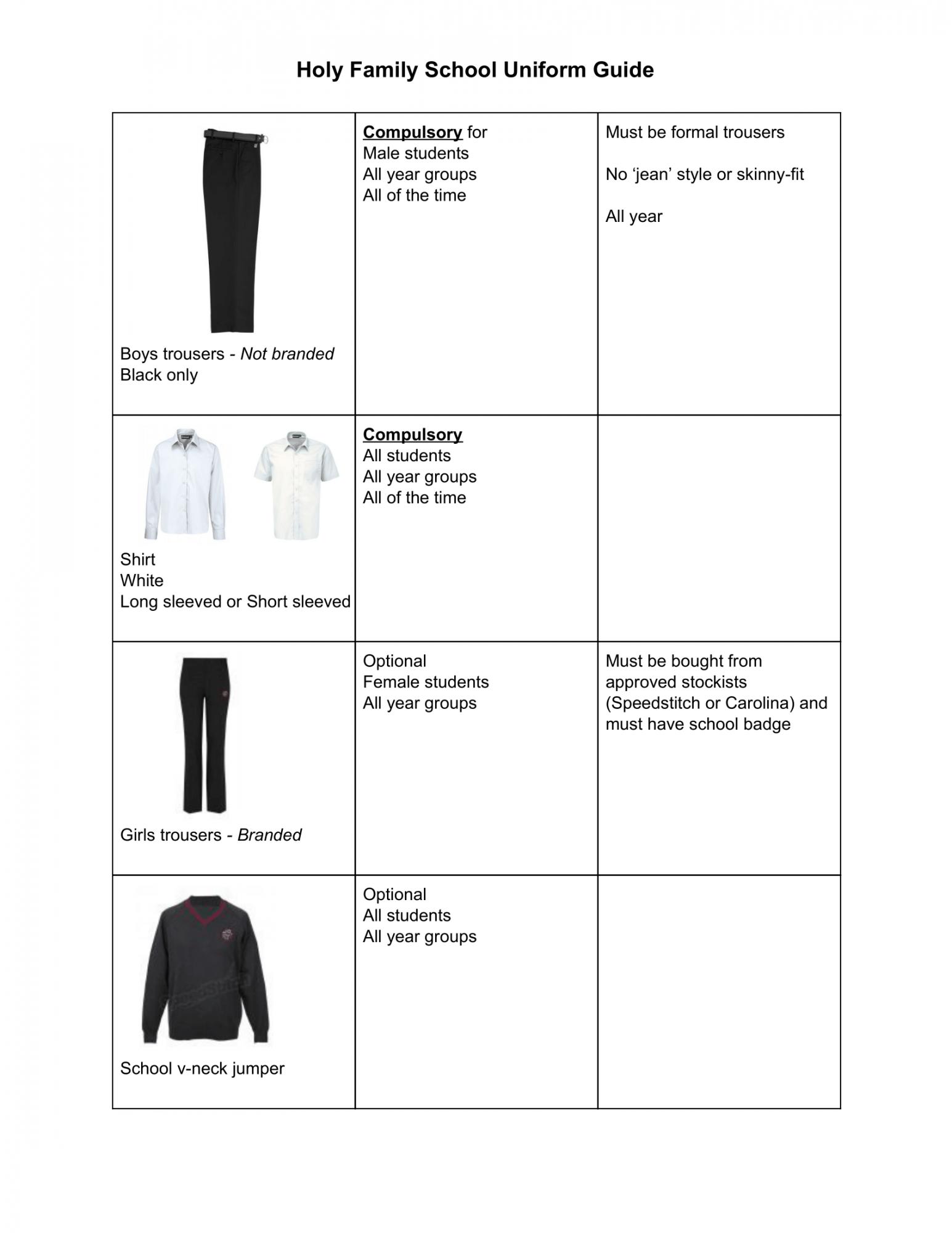School Uniform Sept 2020 2