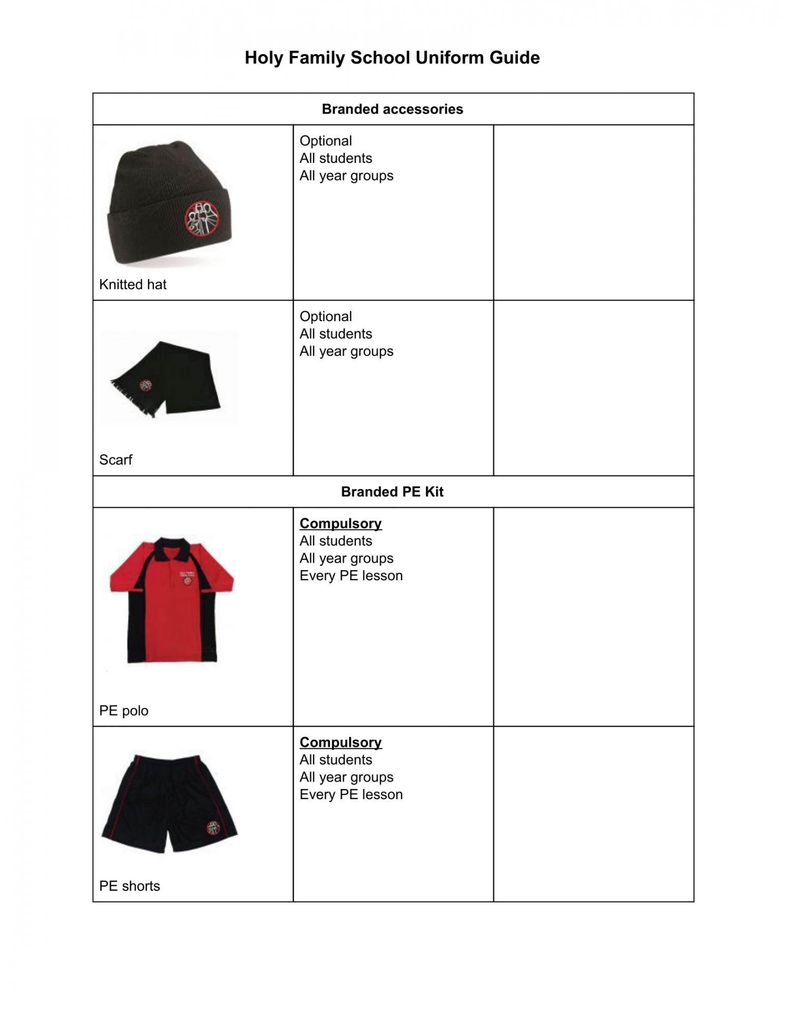 School Uniform Sept 2020 3